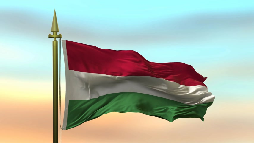 National Flag of  Hungary waving in the wind against the sunset sky background slow motion Seamless Loop Animation