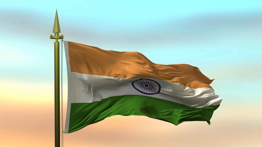 vlajky : National Flag of  India waving in the wind against the sunset sky background slow motion Seamless Loop Animation Dostupné videozáznamy