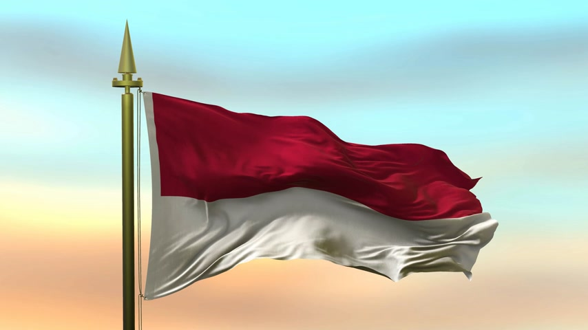 National Flag of  Indonesia waving in the wind against the sunset sky background slow motion Seamless Loop Animation