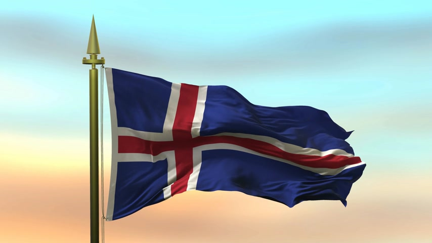 National Flag of  Iceland waving in the wind against the sunset sky background slow motion Seamless Loop Animation