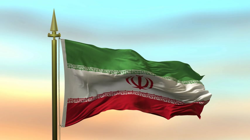 National Flag of  Iran waving in the wind against the sunset sky background slow motion Seamless Loop Animation
