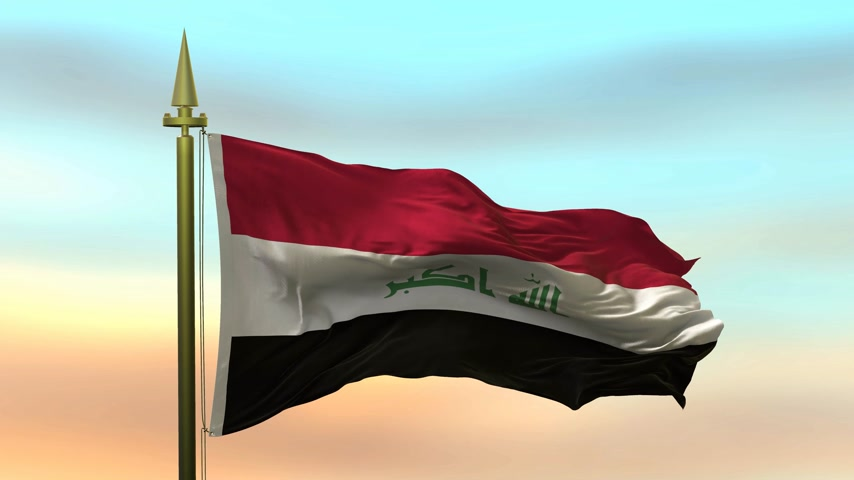 National Flag of  Iraq waving in the wind against the sunset sky background slow motion Seamless Loop Animation Stok Video