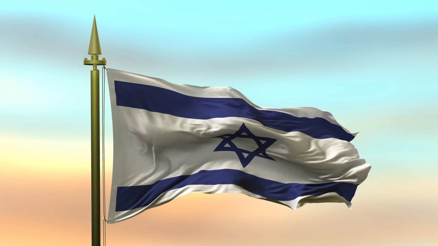 National Flag of  Izrael waving in the wind against the sunset sky background slow motion Seamless Loop Animation