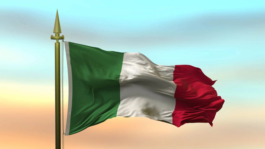 National Flag of  Italy waving in the wind against the sunset sky background slow motion Seamless Loop Animation