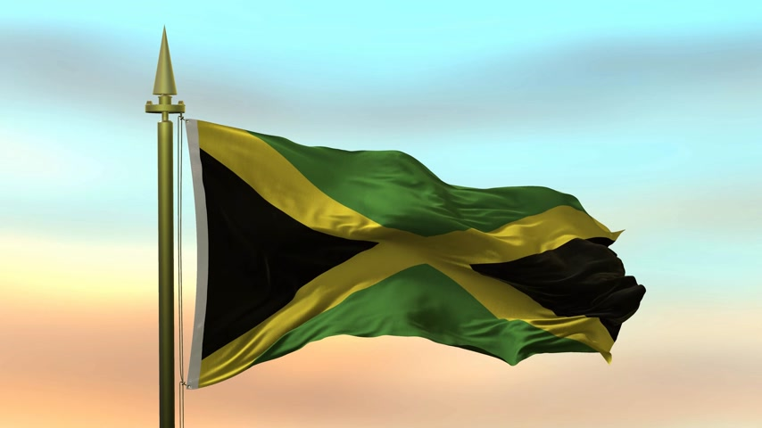 National Flag of  Jamaica waving in the wind against the sunset sky background slow motion Seamless Loop Animation