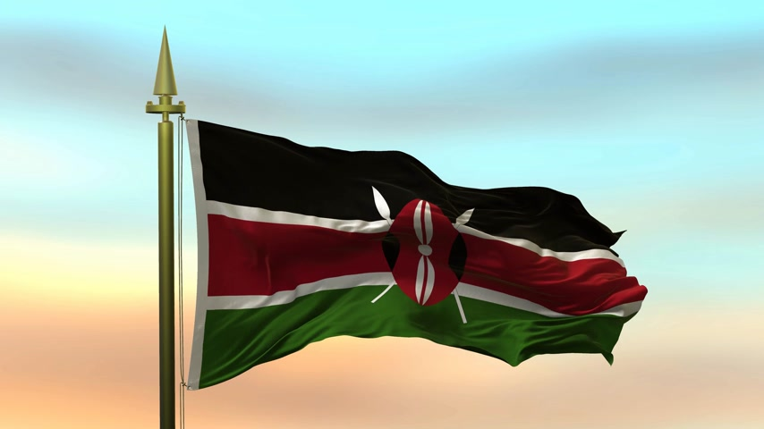 National Flag of  Kenya waving in the wind against the sunset sky background slow motion Seamless Loop Animation Stok Video