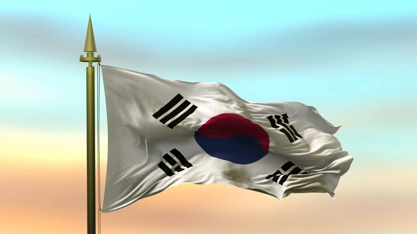 National Flag of  South Korea waving in the wind against the sunset sky background slow motion Seamless Loop Animation Stok Video