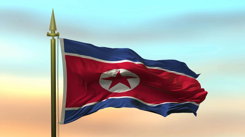National Flag of  North Korea waving in the wind against the sunset sky background slow motion Seamless Loop Animation