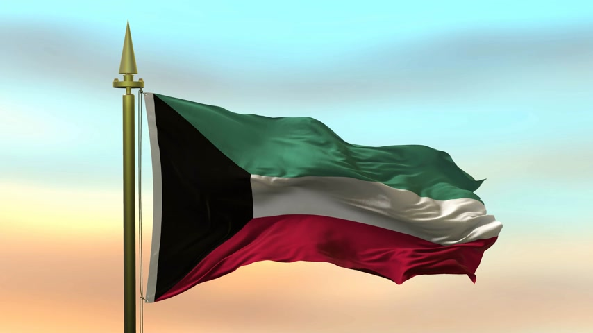 National Flag of  Kuwait waving in the wind against the sunset sky background slow motion Seamless Loop Animation