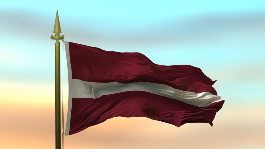 National Flag of  Latvia waving in the wind against the sunset sky background slow motion Seamless Loop Animation