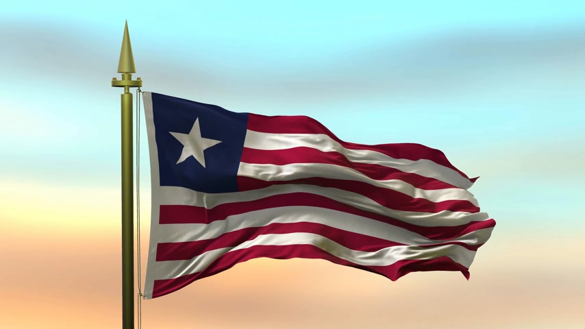 National Flag of  Liberia waving in the wind against the sunset sky background slow motion Seamless Loop Animation