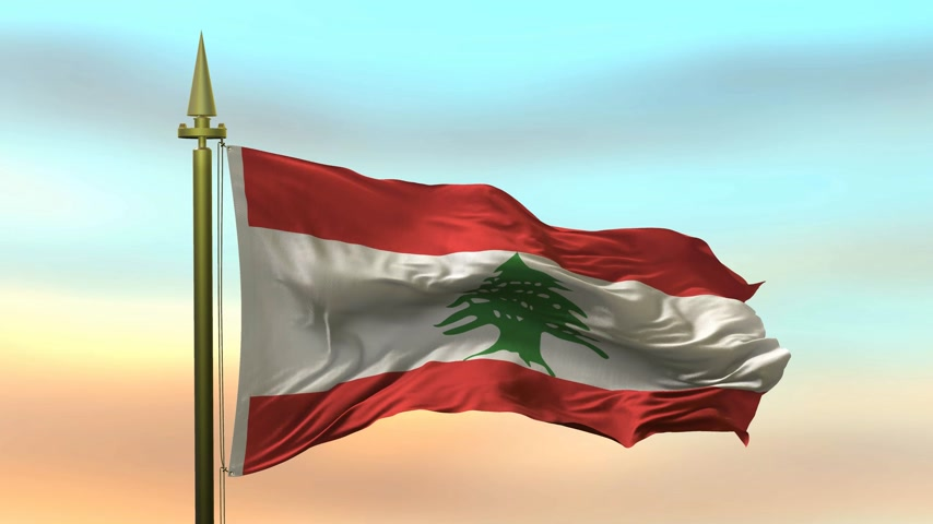 National Flag of  Lebanon waving in the wind against the sunset sky background slow motion Seamless Loop Animation