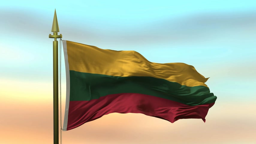 Литва : National Flag of  Lithuania waving in the wind against the sunset sky background slow motion Seamless Loop Animation