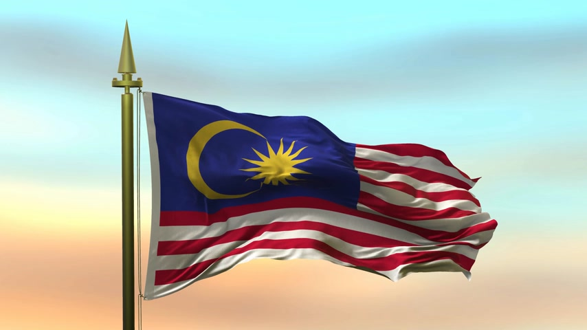 National Flag of  Malaysia waving in the wind against the sunset sky background slow motion Seamless Loop Animation