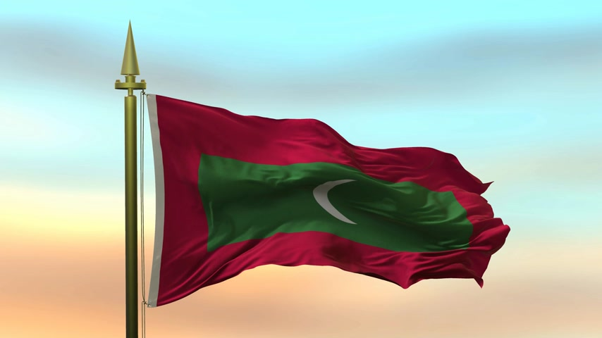 National Flag of  Maldives waving in the wind against the sunset sky background slow motion Seamless Loop Animation