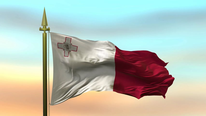 godło : National Flag of  Malta waving in the wind against the sunset sky background slow motion Seamless Loop Animation