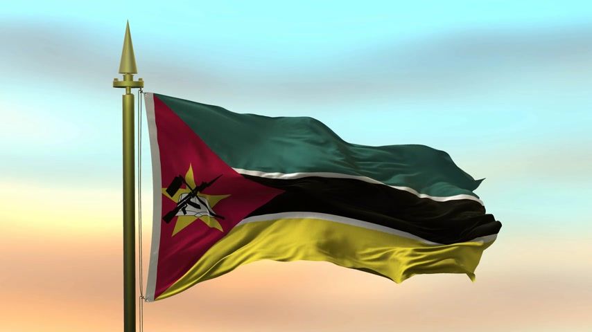 National Flag of  mozambic waving in the wind against the sunset sky background slow motion Seamless Loop Animation
