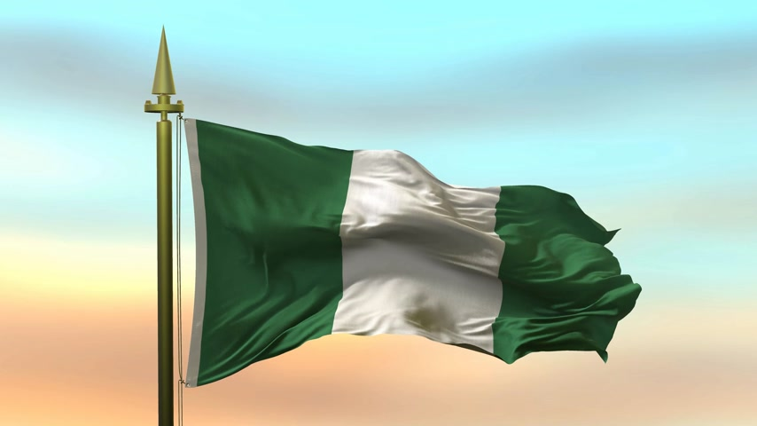 nigeria flag : National Flag of  Nigeria waving in the wind against the sunset sky background slow motion Seamless Loop Animation