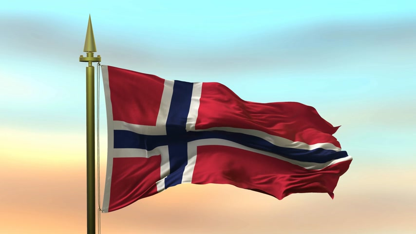 hedvábný : National Flag of  Norway waving in the wind against the sunset sky background slow motion Seamless Loop Animation