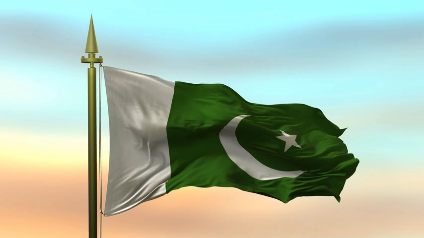 National Flag of  Pakistan waving in the wind against the sunset sky background slow motion Seamless Loop Animation
