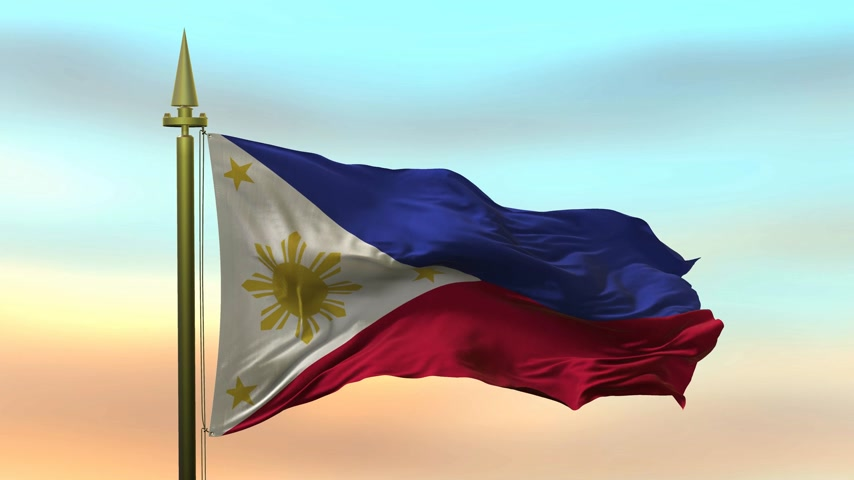 National Flag of  Philippines waving in the wind against the sunset sky background slow motion Seamless Loop Animation Stok Video