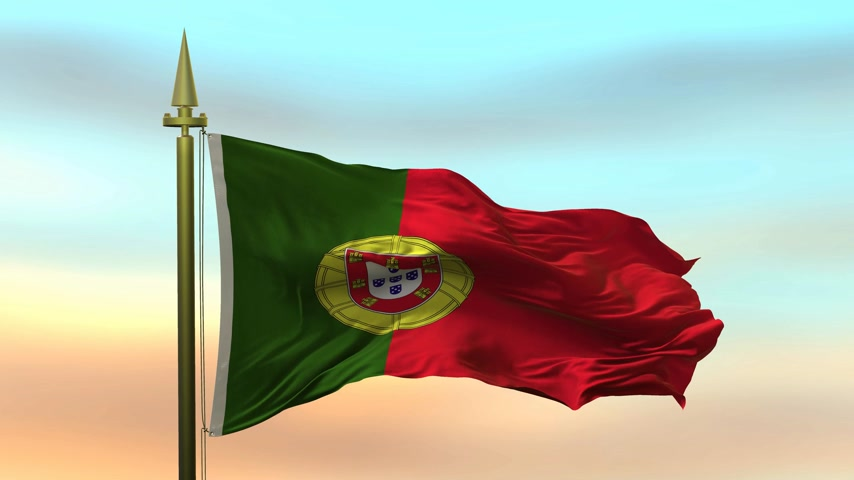 National Flag of  Portugal waving in the wind against the sunset sky background slow motion Seamless Loop Animation