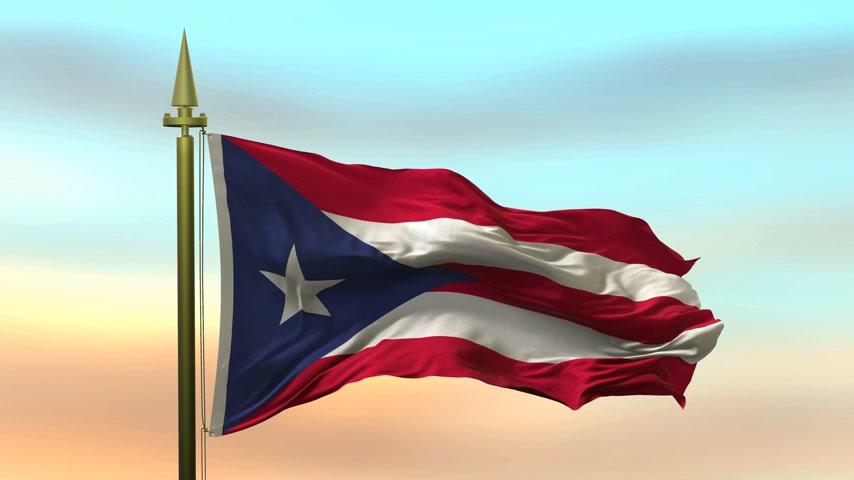 National Flag of  Puerto Rico waving in the wind against the sunset sky background slow motion Seamless Loop Animation Stok Video