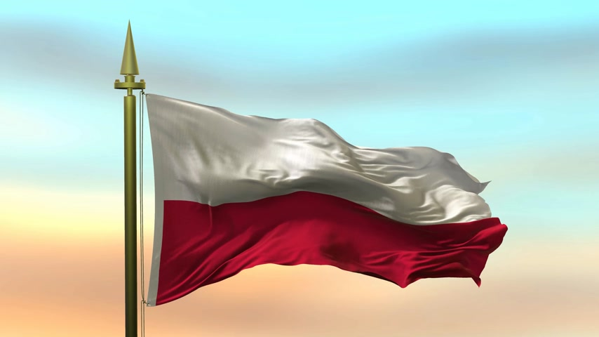National Flag of  Poland waving in the wind against the sunset sky background slow motion Seamless Loop Animation