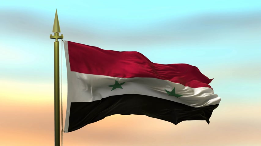 National Flag of  Syria waving in the wind against the sunset sky background slow motion Seamless Loop Animation