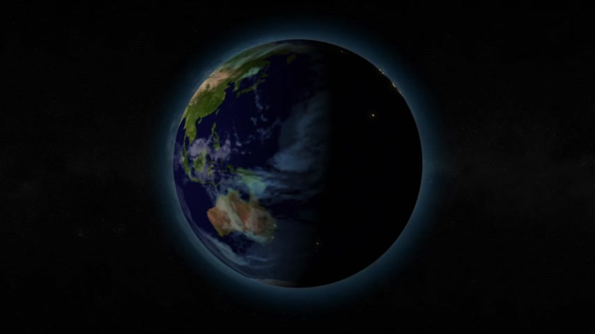 dark sky : Planet earth spinning and rotating turning day to night with star