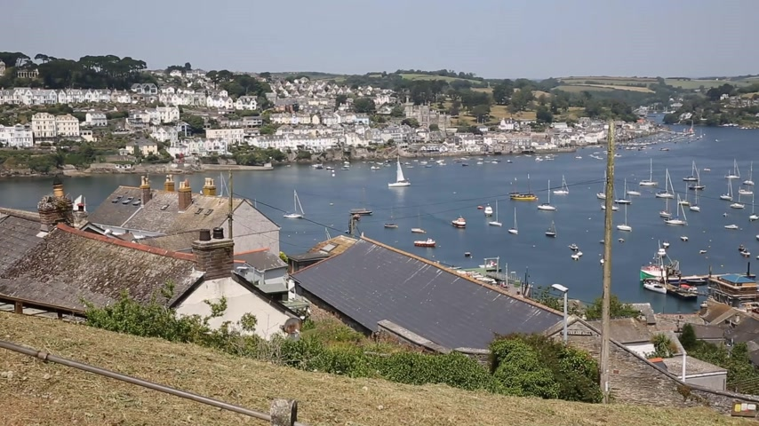 kasaba : River Fowey fishing village Cornwall England near St Austell and Polruan on a beautiful summer day