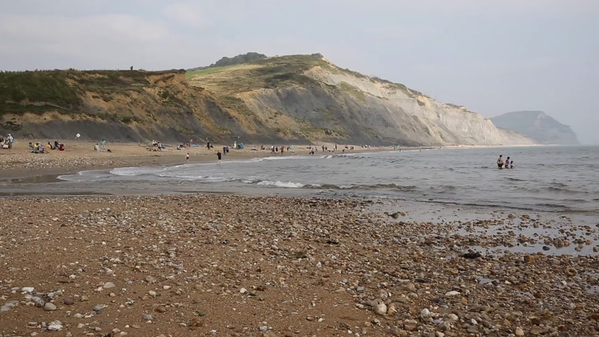 lyme : Charmouth beach Dorset England UK overlooking Lyme Bay