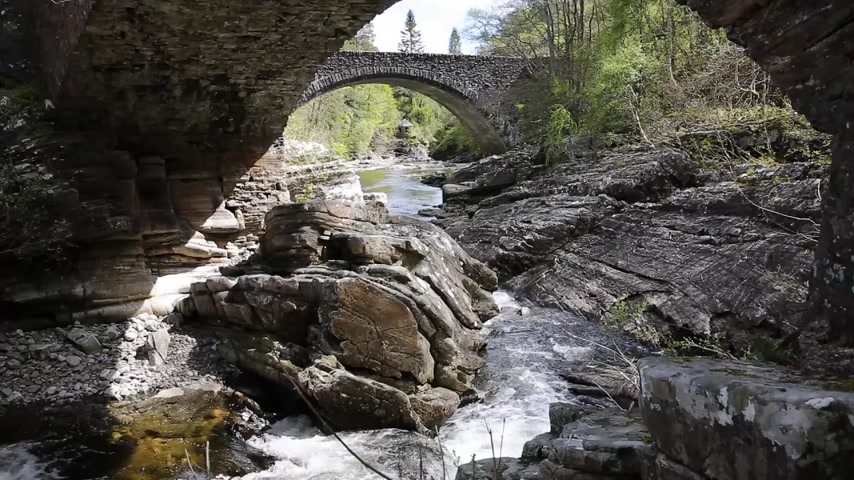 augustus : Invermoriston bridge Scotland UK Scottish tourist attraction built by Thomas Telford in 1813 to cross the River Moriston and located north of Fort Augustus on the A82