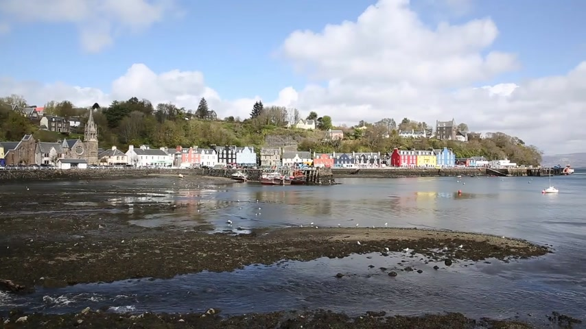 argyll : Tobermory Isle of Mull Scotland uk small town in Scottish Inner Hebrides on a beautiful spring day pan