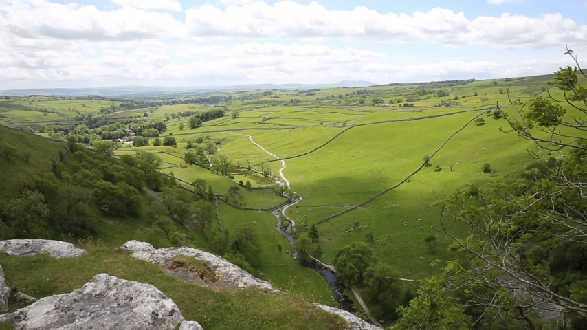 Malham Cove view from the top looking towards Malhamdale Yorkshire Dales National Park UK