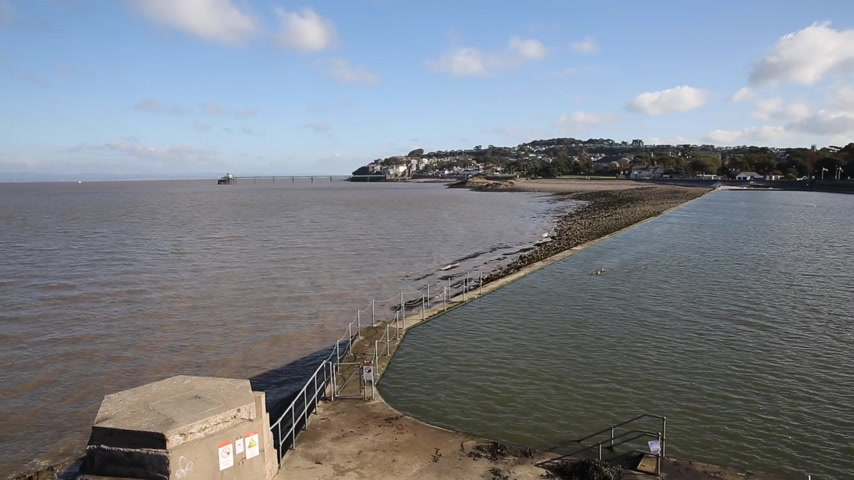 Clevedon Somerset England uk seafront and open air swimming pool at coast town near Bristol and Weston-super-mare