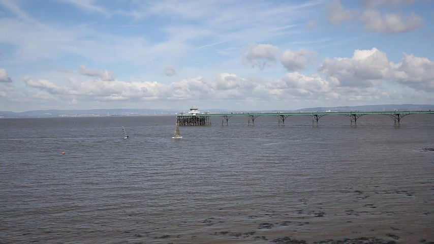 Clevedon Somerset England pier and seafront at coast town near Bristol and Weston-super-mare pan