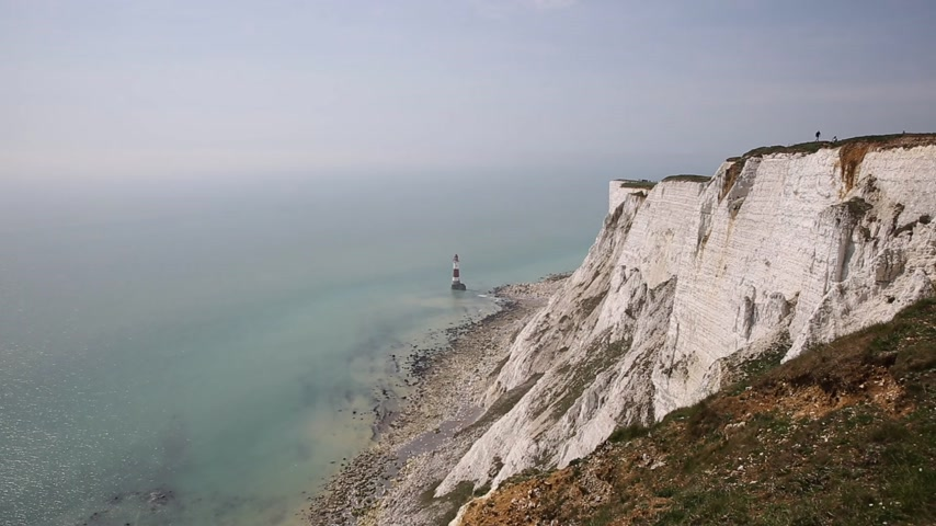 Beachy Head cliffs showing drop at notorious suicide place near Eastbourne East Sussex UK Stock Footage
