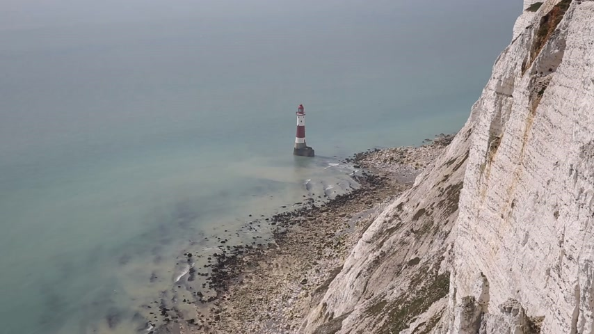 English lighthouse Beachy Head East Sussex England UK near Eastbourne and east of the Seven Sisters chalk cliffs