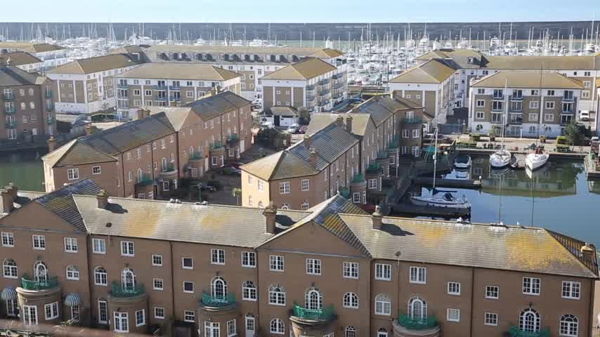 Brighton marina East Sussex England UK with beautiful weather, elevated pan view