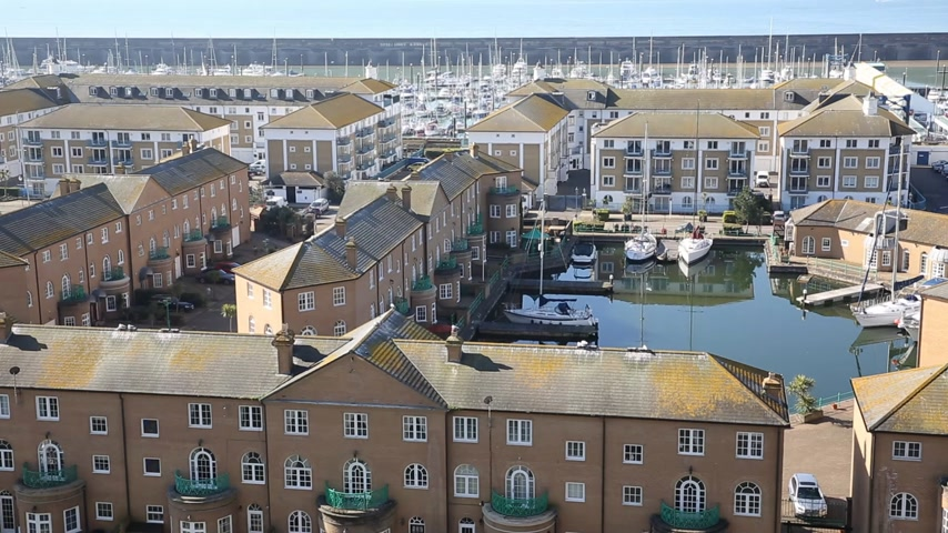 Brighton marina England UK with beautiful weather, elevated view Stock Footage