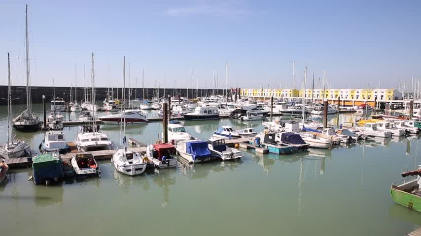 Brighton marina boats and yachts pan