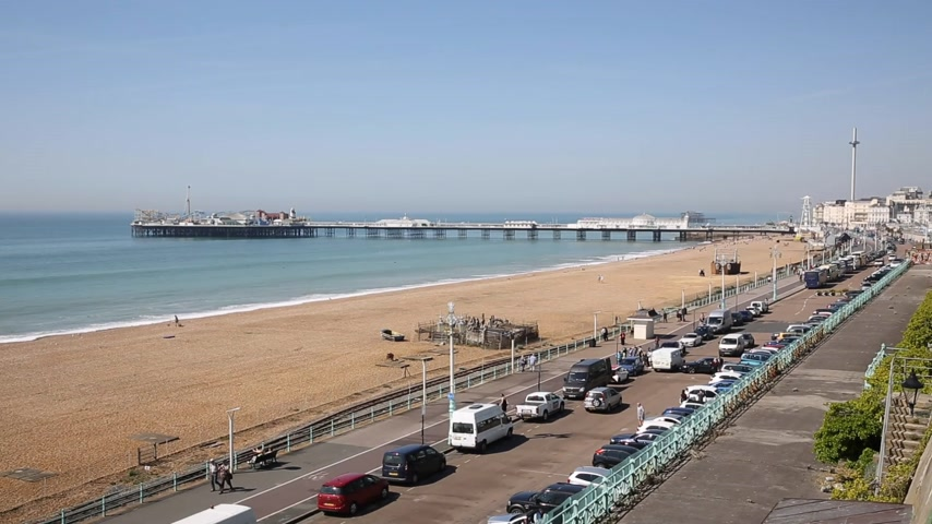 Brighton English seafront busy in beautiful weather England UK