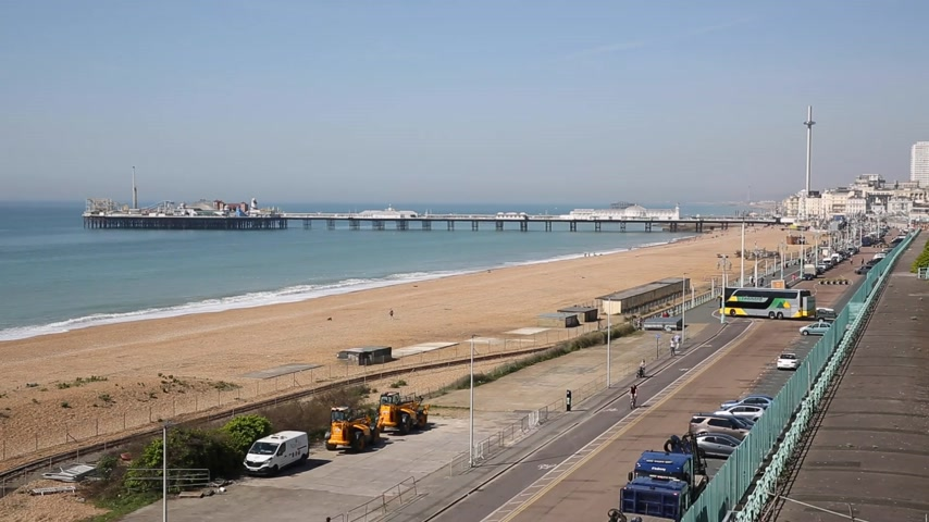 Brighton England seafront busy in beautiful weather England UK