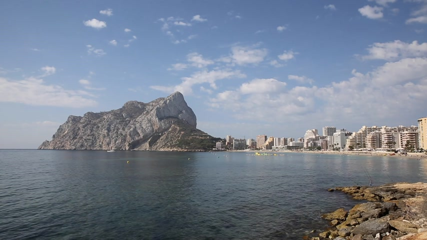 Calpe Spain Costa Blanca with Penon de Ilfach the large landmark rock and Natural Park of Penyal dIfac
