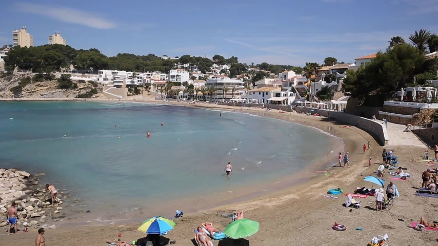 Beautiful Spanish village beach on Costa Blanca El Portet near Moraira