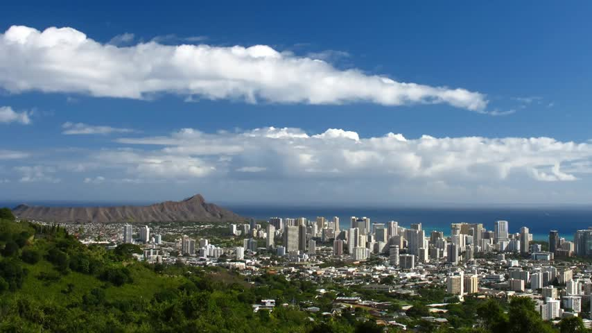 hawai : Nuages de laps temps de Waikiki, Ohau, Hawaii