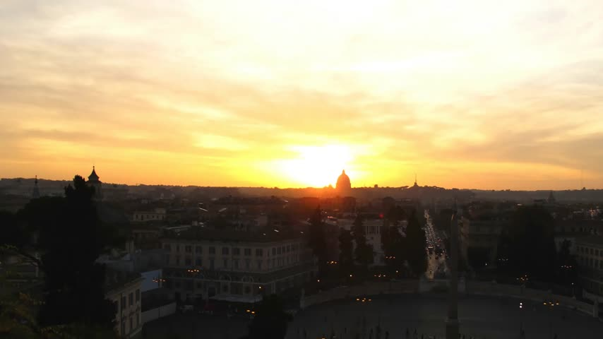 rzym : Time lapse sunset over Rome seen from Pincio (moving camera - pan) Wideo