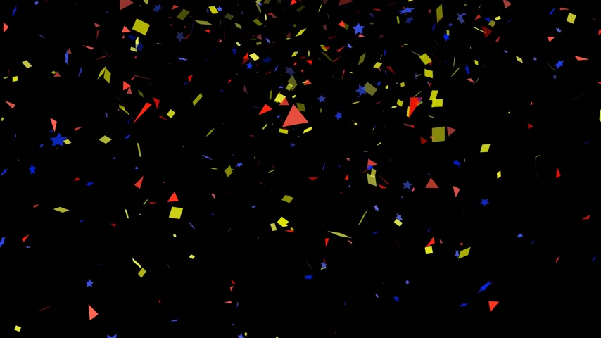 renkli arka plan : Colorful confetti particles party on black background Stok Video