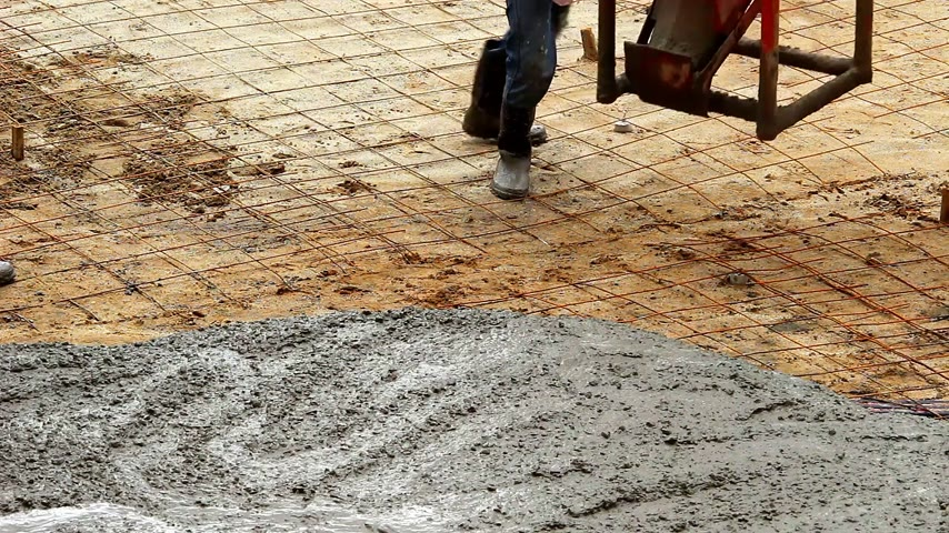 Concrete surface works for road maintenance construction.
